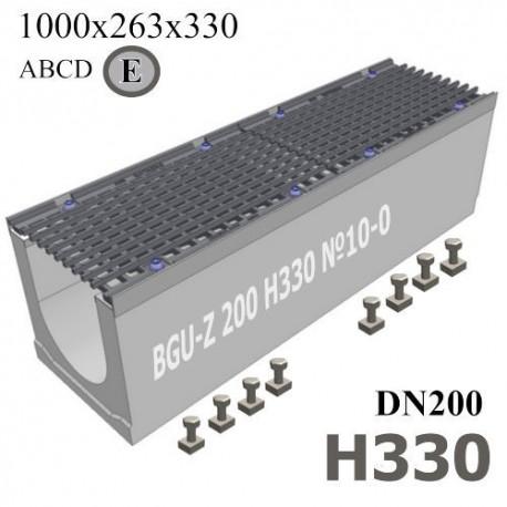 Бетонный водоотводный лоток BGU-Z DN200 H330 №10-0 с решеткой, кл. E