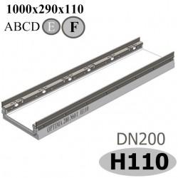 Лоток водоотводный бетонный ЛВБ Optima 200 №0/1 тип 2, высота 110
