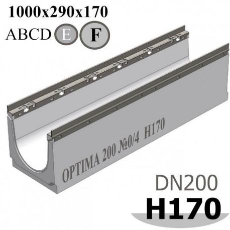 Лоток водоотводный бетонный ЛВБ Optima 200 №0/4 тип 2, высота 170