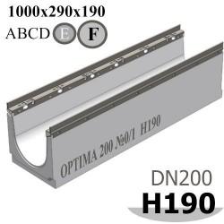 Лоток водоотводный бетонный ЛВБ Optima 200 №0/1, высота 190
