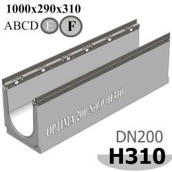 Лоток водоотводный бетонный ЛВБ Optima 200, №0/0, высота 310