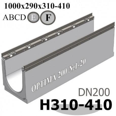 Лотки водоотводные бетонные ЛВБ OPTIMA DN200 с уклоном