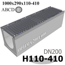 Лоток OPTIMA DN200 E600 комплект с решеткой чугунной