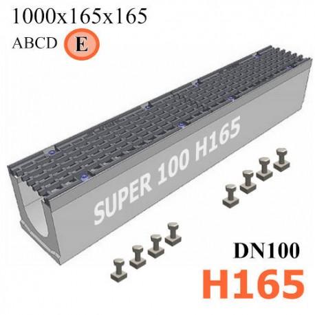 Бетонный лоток SUPER DN100 H165, кл. E