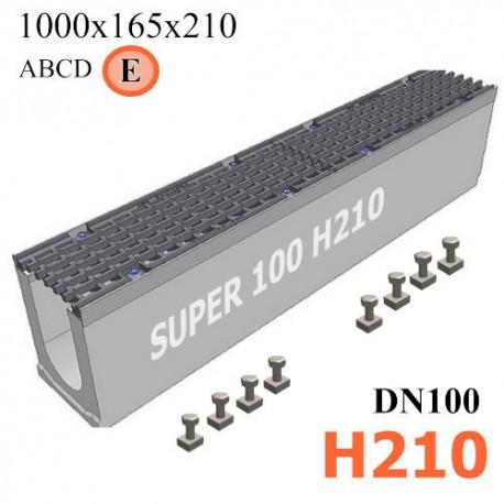 Бетонный лоток SUPER DN100 H210, кл. E