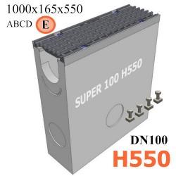 Пескоуловитель бетонный Super DN100 h550 с решеткой чугунной ВЧ (комплект) кл. E600
