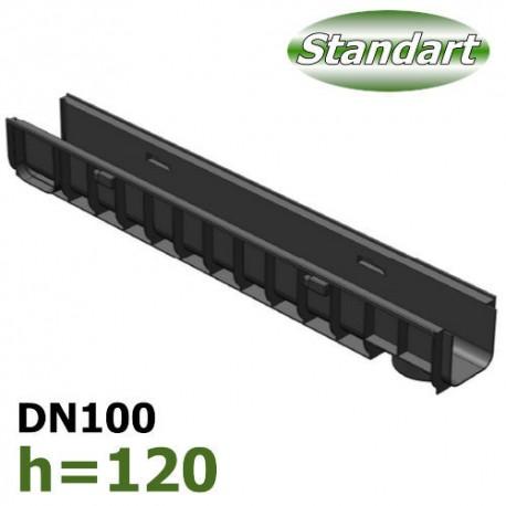 Лоток водоотводный Gidrolica Standart ЛВ-10.14,5.12 - пластиковый
