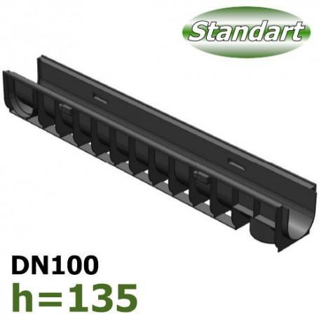 Лоток водоотводный Gidrolica Standart DN100 H135 пластиковый