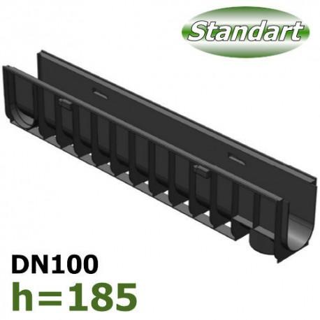 Лоток водоотводный Gidrolica Standart DN100 H185 пластиковый