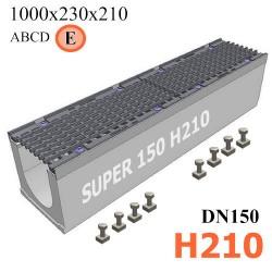 Чертеж бетонного лотка SUPER DN150 H210, кл. E, вид сбоку