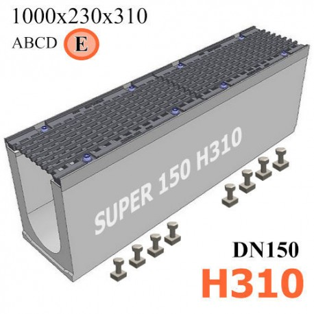 Бетонный лоток SUPER DN150 H310, кл. E
