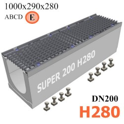Бетонный лоток SUPER DN200 H280, кл. E