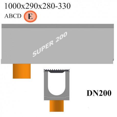 Лотки SUPER DN200 с вертикальным водосливом