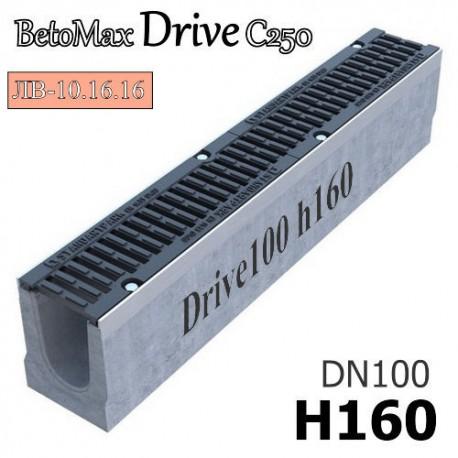 Лоток BetoMax Drive ЛВ-10.16.16-Б бетонный с решеткой щелевой чугунной ВЧ, кл. C (комплект)