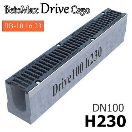 Лоток BetoMax Drive ЛВ-10.16.23-Б бетонный с решеткой щелевой чугунной ВЧ, кл. C (комплект)