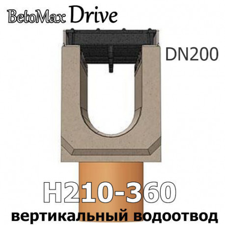 Лотки BetoMax Drive DN200 с вертикальным водоотводом, кл. C,D,E