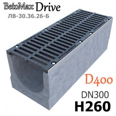 Лоток BetoMax Drive ЛВ-30.36.26-Б бетонный с решеткой щелевой чугунной ВЧ, кл. D (комплект)