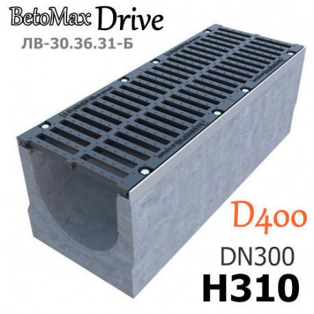 Лоток BetoMax Drive ЛВ-30.36.31-Б бетонный с решеткой щелевой чугунной ВЧ, кл. D (комплект)