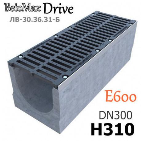 """Лоток BetoMax Drive ЛВ-30.36.31-Б бетонный с решеткой тип """"шина"""" чугунной ВЧ, кл. E (комплект)"""