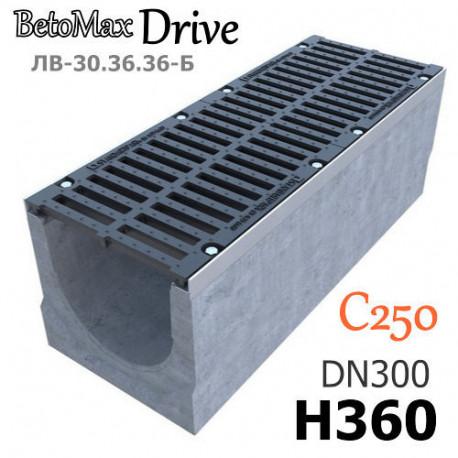 Лоток BetoMax Drive ЛВ-30.36.36-Б бетонный с решеткой щелевой чугунной ВЧ, кл. C (комплект)