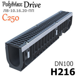 Лоток PolyMax Drive DN100 H216 с решеткой, кл. C