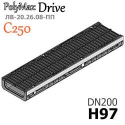 Лоток PolyMax Drive DN200 H97 с решеткой, кл. C