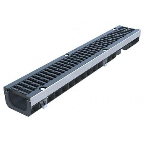 Лоток водоотводный PolyMax Drive ЛВ-10.15.08-ПП пластиковый с решеткой щелевой чугунной ВЧ кл. D (комплект)