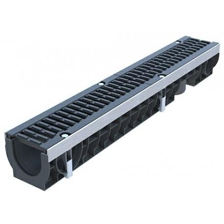 Лоток водоотводный PolyMax Drive ЛВ-10.16.12-ПП пластиковый с решеткой щелевой чугунной ВЧ кл. D (комплект)