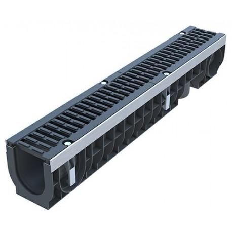 Лоток водоотводный PolyMax Drive ЛВ-10.16.16-ПП пластиковый с решеткой щелевой чугунной ВЧ кл. D (комплект)