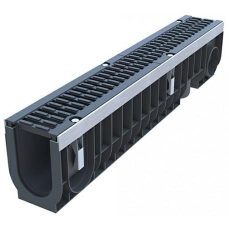 Лоток водоотводный PolyMax Drive ЛВ-10.16.20-ПП пластиковый с решеткой щелевой чугунной ВЧ кл. D (комплект)