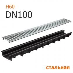 Пластиковый лоток DN100 H55 с решеткой стальной