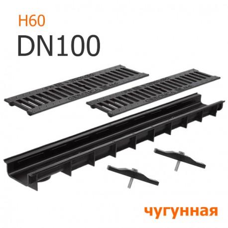 Пластиковый лоток DN100 H60 с решеткой чугунной