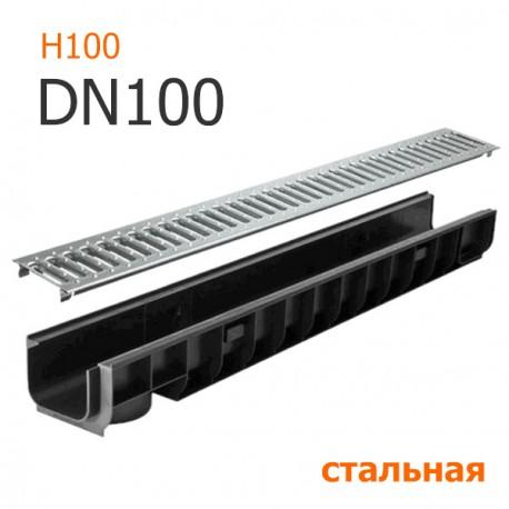 Лоток водоотводный пластиковый DN100 H100 с решеткой стальной, кл. A15