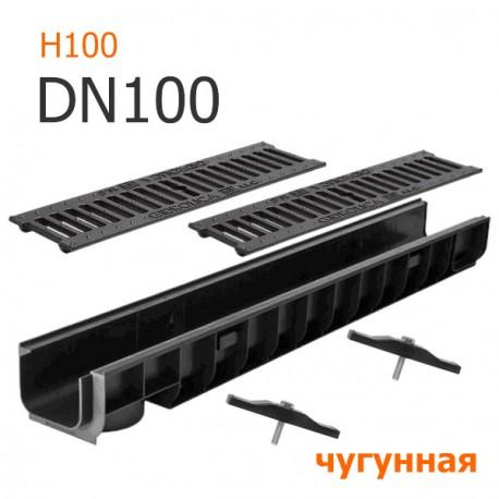 Лоток водоотводный пластиковый DN100 H100 с решеткой чугунной ВЧ, кл. C250