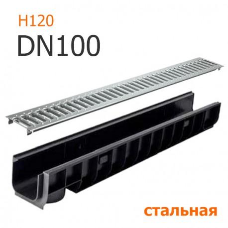 Лоток водоотводный пластиковый DN100 H120 с решеткой стальной, кл. A15