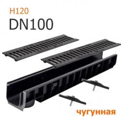Лоток водоотводный пластиковый DN100 H120 с решеткой чугунной ВЧ, кл. C250