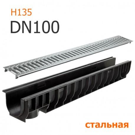 Лоток дренажный пластиковый DN100 H135 с решеткой стальной