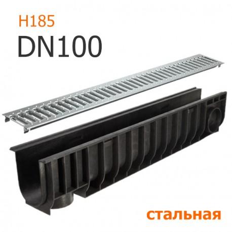 Лоток дренажный пластиковый DN100 H185 с решеткой стальной