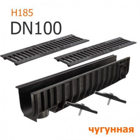 Лоток дренажный пластиковый DN100 H185 с решеткой чугунной