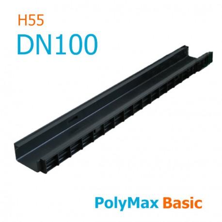 Лоток водоотводный пластиковый PolyMax Basic DN100 H55