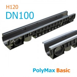 Лоток водоотводный пластиковый PolyMax Basic DN100 H120