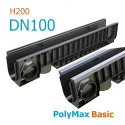 Лоток водоотводный пластиковый PolyMax Basic DN100 H200