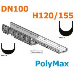 Переходник пластиковый DN100 H120 - Н155 (PolyMax Basic)