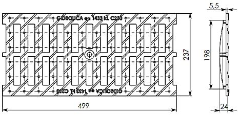 Схема: Решетка водоприемная РВ-20.24.50 - щелевая чугунная ВЧ