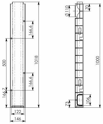 Чертеж лотка Gidrolica Standart ЛВ-10.14,5.08