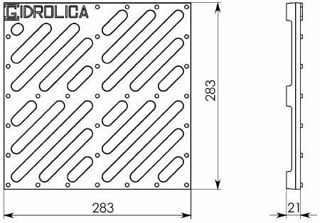 Решетка водоприемная РВ-28,5.28,5 чугунная щелевая, кл. С250