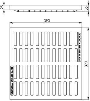 Решетка водоприемная к дождеприемнику РВ-40.40 пластиковая