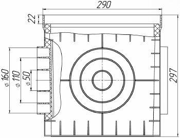 Чертежный вид дождеприемника PolyMax Basic ДП-30.30