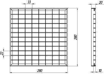 Решётка водоприёмная Basic РВ-28.28 ячеистая стальная оцинкованная, кл. В125