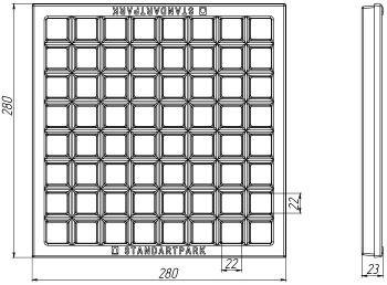 Решетка водоприемная Basic РВ-28.28 ячеистая чугунная ВЧ, кл. С 3332